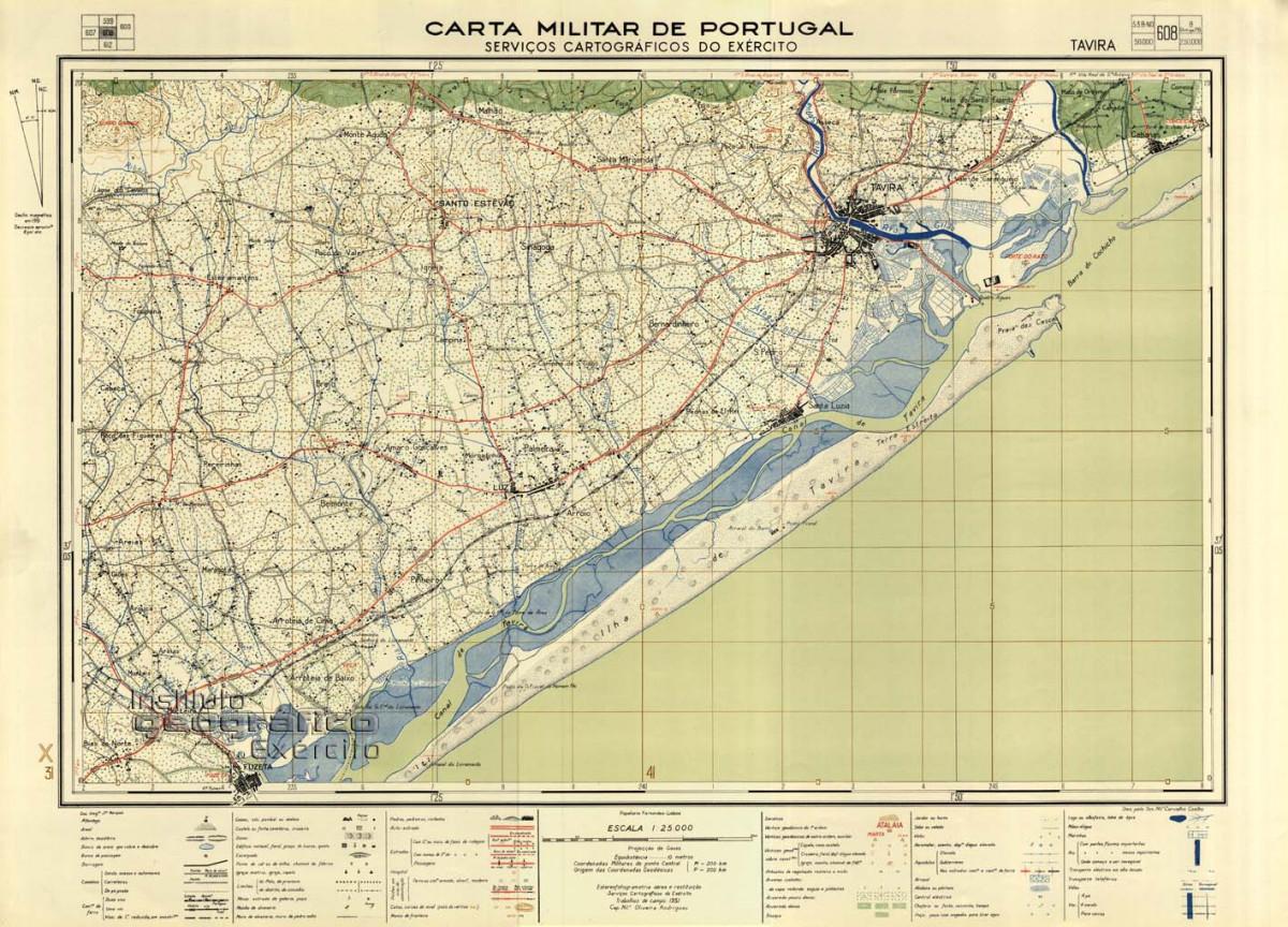 Mapa de Tavira e seu litoral (1951)